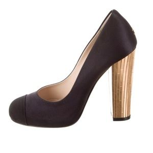 Chanel Satin Heels with Gold Size 8